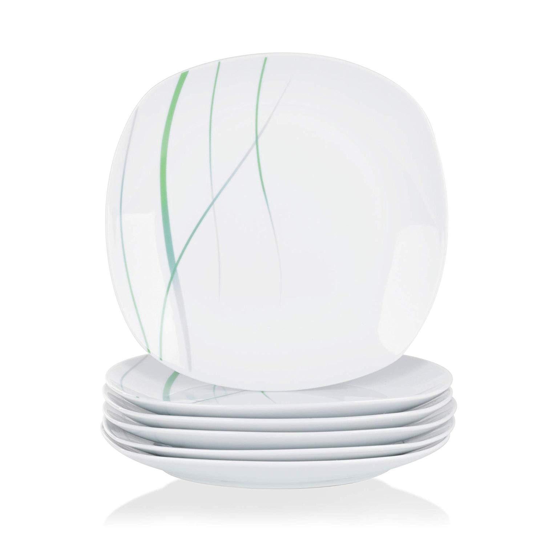 VEWEET AVIVA ensemble d'assiettes en céramique | De cuisine, ivoire blanc porcelaine, assiette à dîner salade assiette à Snack, assiette à fruits, ensemble de 6 pièces 9.75