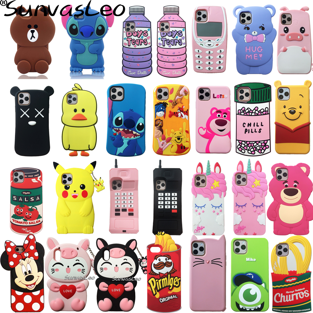 For iPhone 6 7 8 X 11 11 Pro / Max 3D Cartoon Animal Soft Silicone Case Phone Back Cover Shell For iPhone 6 6s 7 8Plus XR XS Max
