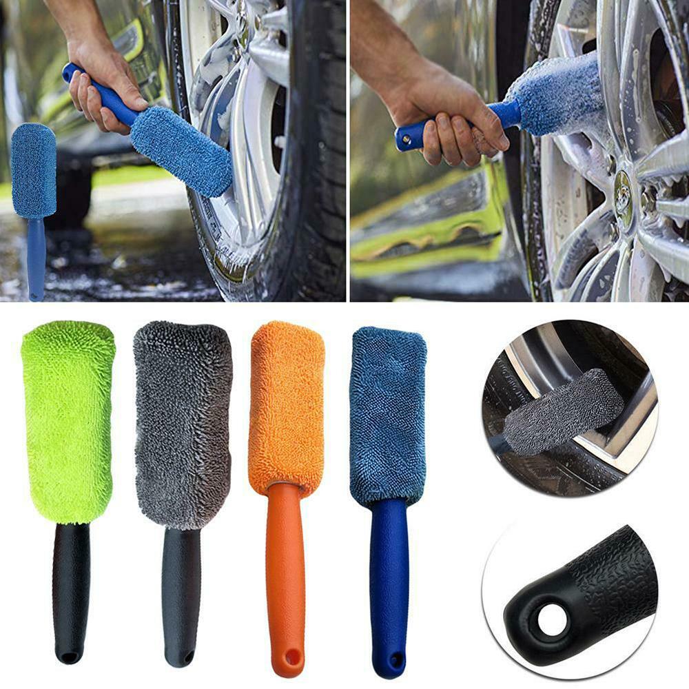 Spazzole per la Pulizia dei Cerchioni Accessori per Utensili per Il Lavaggio delle Maniglie in Plastica Spazzola per Cerchioni per Pneumatici in Microfibra per Auto con Manico in Plastica