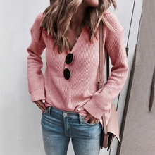 Women's Fashion Long Sleeve Knitted Sweaters Solid Sexy V-neck Sweater Tops Autumn Winter Loose Pullovers Streetwear ronnykise knitted sweaters women fashion pullovers long sleeve sexy v neck casual tops autumn and winter cashmere sweater