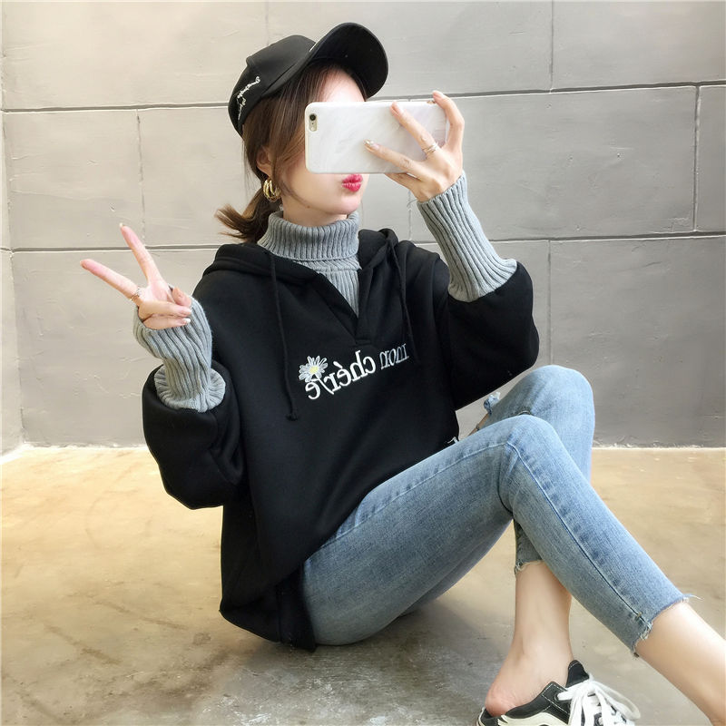 Autumn and Winter New Korean Version of Women's Hooded High Collar Fake Two Fashionable Tops with Plush Thickening for Students 12
