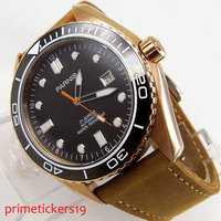 45mm Parnis black dial golden plated case date automatic mens watch ceramic bezel P822