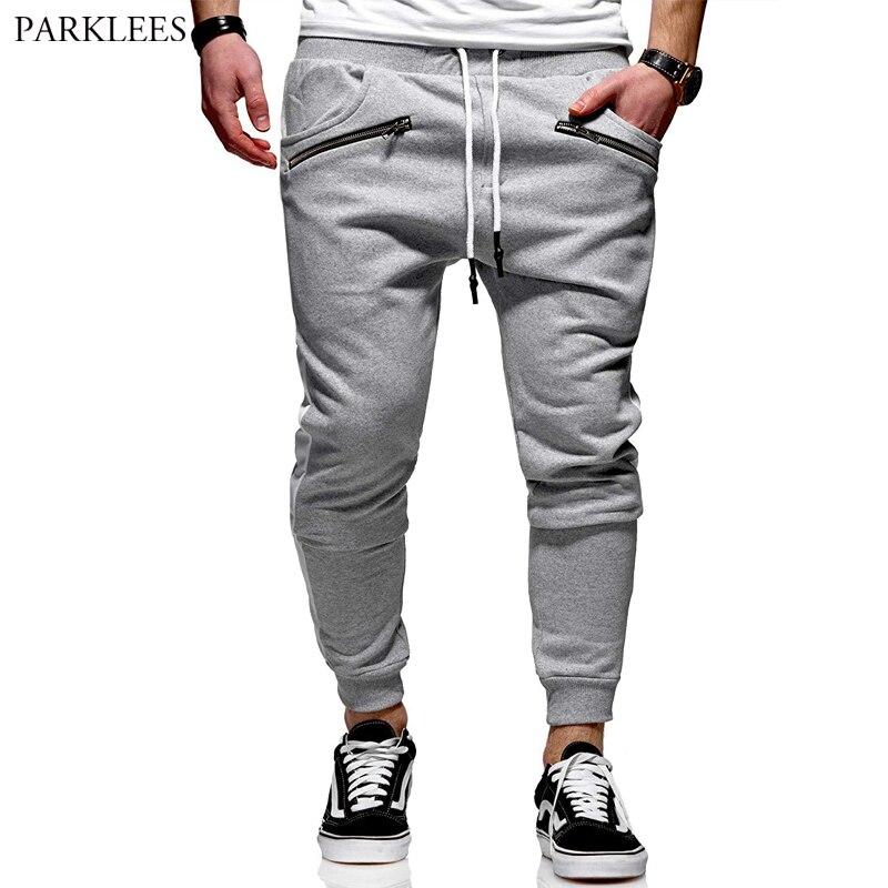 Autumn Contrast Splice Fitness Pant Men's 2019 New Fashion Zipper Sports Pants Jogging Male Leisure Pants High Quality Men Pants