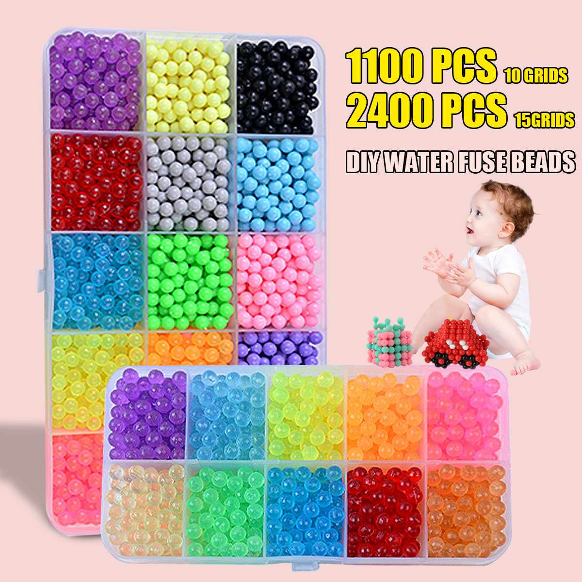 2400 Pcs DIY Magic Beads Animal Molds Hand Making 3D Puzzle Kids Educational Beads Toys For Children Spell Replenish With Box