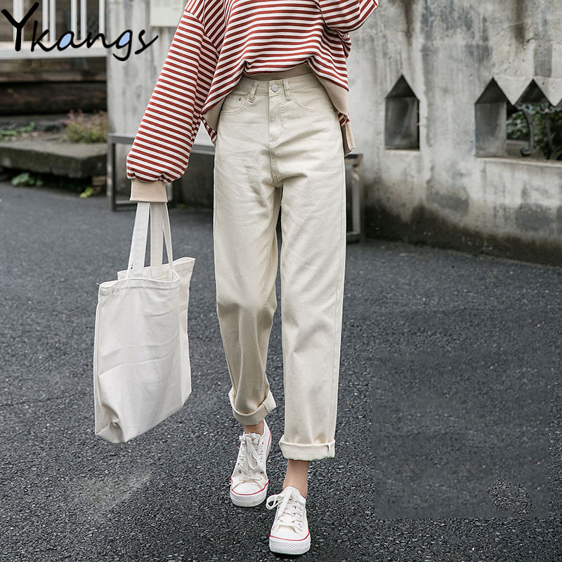 100% Cotton Plus Size White Jeans Women High Waist Harem Mom Jeans Female Classic Basic Spring 2020 New Denim Pants Streetwear