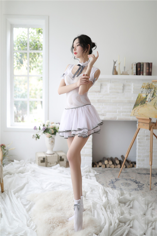 Sexy Student Erotic Lingerie Bow Dress Uniform Temptation Pajamas Dress White