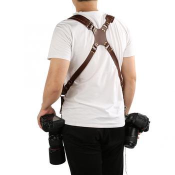 Swobodny rozmiar szelki aparatu regulowany skórzany pasek od aparatu podwójny pasek na ramię pasek od aparatu cyfrowy pasek od aparatu z bezpiecznym pierścieniem tanie i dobre opinie HURRISE CN (pochodzenie)