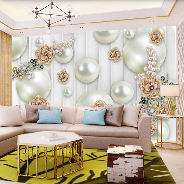 3D Flower TV Backdrop Wallpaper Elegant European Style Jewelry Mural Living Room Film And Television Simple Wallpaper Wall Cloth