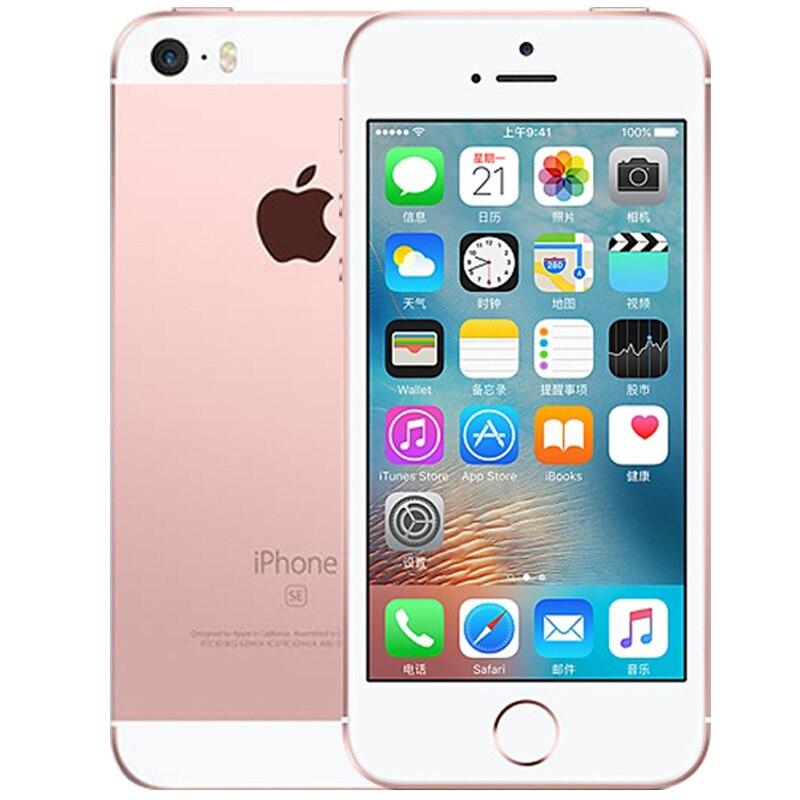 Разблокированный Apple iphone SE, мобильный телефон, 4 аппарат не привязан к оператору сотовой связи 4,0 '2 Гб Оперативная память 16/64GB Встроенная память A9 двухъядерный за счет сканера отпечатков пальцев Подержанный мобильный телефон iphone se - Цвет: A1662 Pink