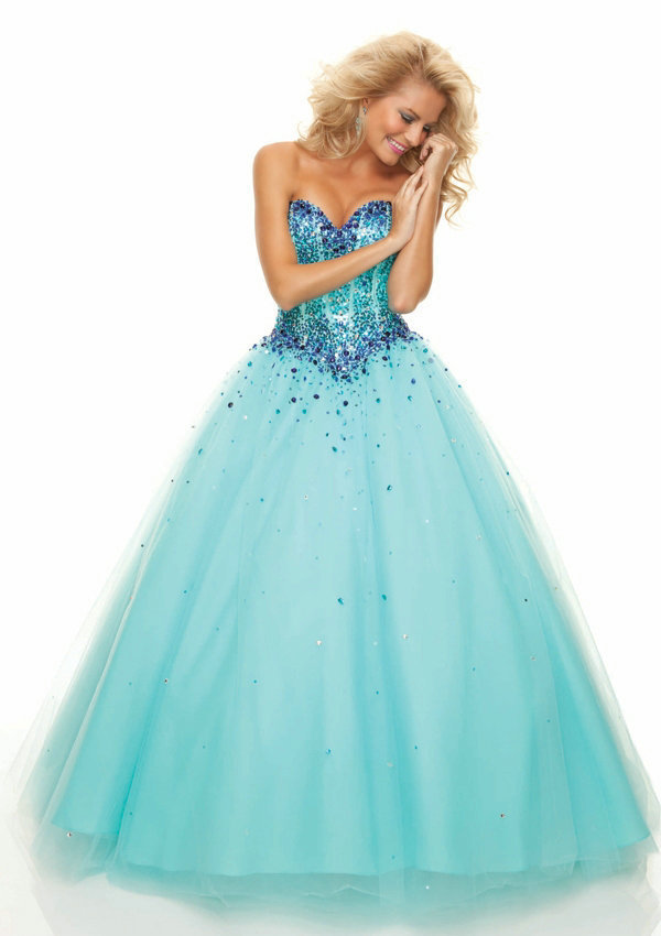 Sparkle Crystal Sweetheart Bodice Blue Purple Pink Tulle Ball Gown Prom Dress Open Back 2019 New Arrival Free Shipping