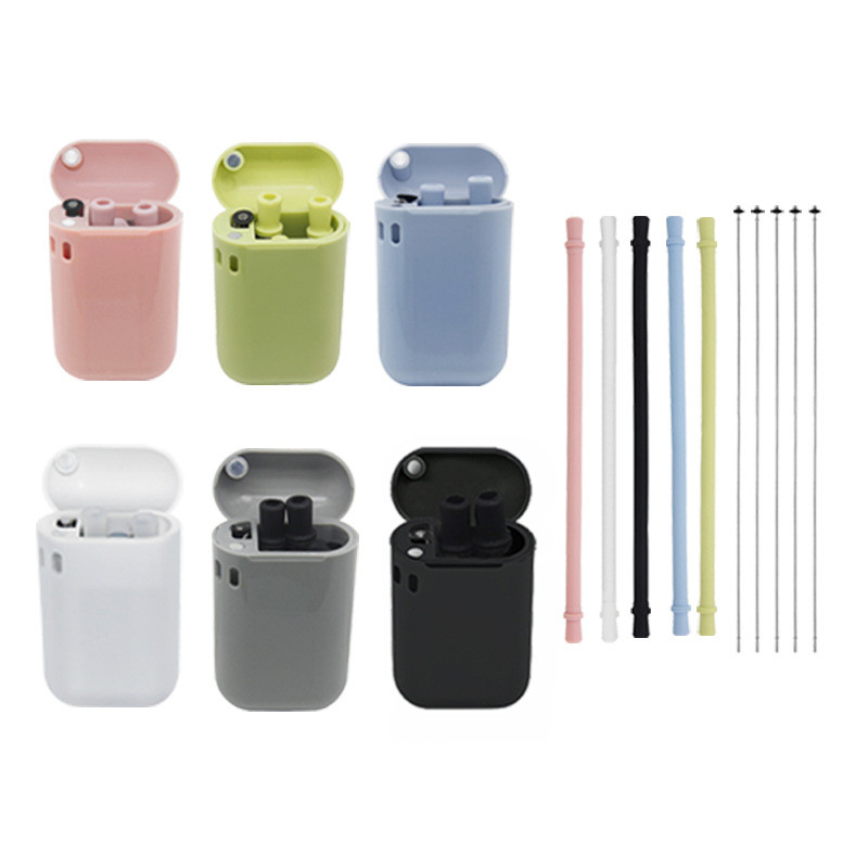 Складные силиконовые соломинки 5 цветов, портативная многоразовая соломинка для питья для путешествий с гибкой щеткой для чистки и защитно...