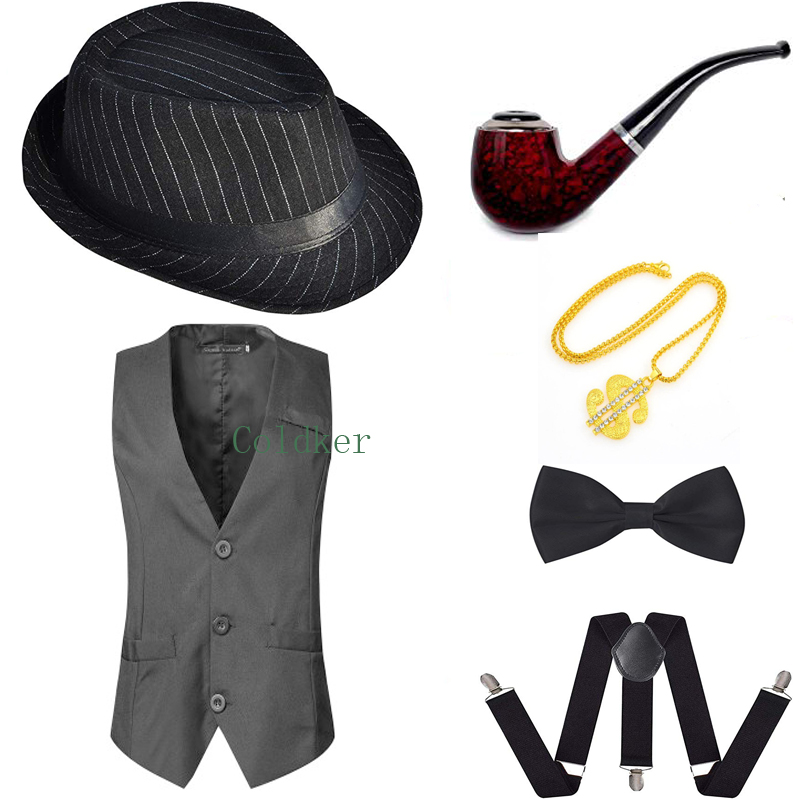 Cosplay Costumes 1920s Stripe Hat And Gangster Vest 20s Costume Accessory Gentleman's Pipe Bow Tie Cigar