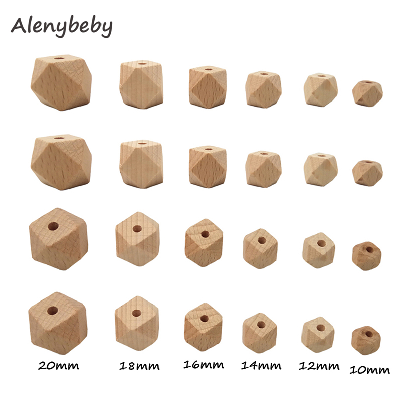 10-20mm Beech Wooden Teether Hexagon Beads DIY Baby Teething Chew Bracelet Necklace Or Pacifier Clip Chain 6 Size Polygon Beads
