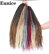Box Braids Crochet Hair Extensions Crochet Braids Synthetic Ombre Gray Bug Braiding Hair Bundles Blonde 22roots/pack Eunice Hair(China)