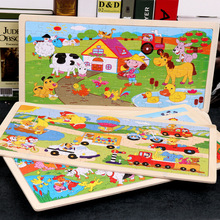96 Pieces Colorful Wooden Puzzles for Toddler Children Learning Educational Puzzles Toys for Boys and Girls puzzles alatoys bb216 play children educational busy board toys for boys girls lace maze toywood