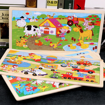 96 Pieces Colorful Wooden Puzzles for Toddler Children Learning Educational Puzzles Toys for Boys and Girls puzzles alatoys lb1032 play children educational busy board toys for boys girls lace maze