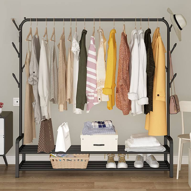 Mrosaa Multifunction Metal Iron Coat Rack Floor Standing Clothes Hanging Storage Shelf Clothes Hanger Racks Bedroom Furniture