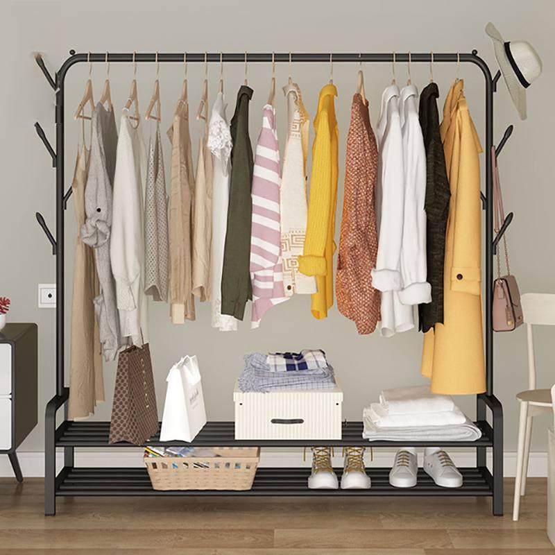 Mrosaa Multifunction Metal Iron Coat Rack Floor Standing Clothes Hanging Storage Shelf Clothes Hanger Racks Bedroom Furniture