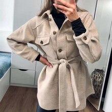 PUWD Vintage Woman Loose Sashes Woolen Coats 2020 Chic Female Autumn Soft TurnDown Collar Outwear Ladies Elegant Pockets Jackets