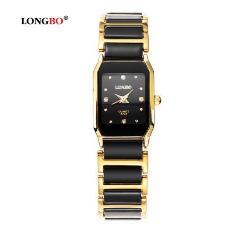 LongBo Brand Good Quality  Lovers Ceramic Watch Couple Quartz Square Women Steel Quality Fashion Casual Sports Watches Black