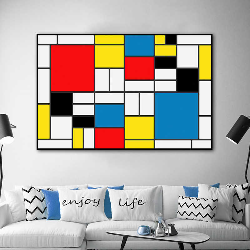 Abstract Painting Grid Pictures By Piet Cornelies Mondrian Modern Canvas Prints Wall Art For Living Room Cuadros Decoration