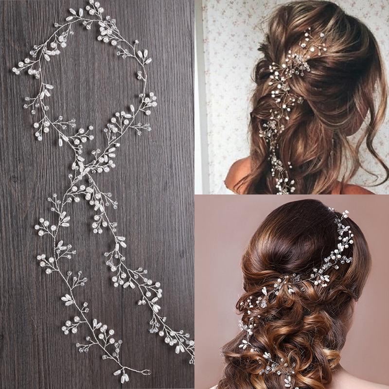 Wedding Headband Pearl Crystal Bridal Hair Accessories Headpiece Women Decorative Hair Vine Wedding Hair Jewelry hair ornaments
