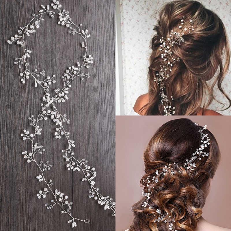 Golden leaves Hair Jewelry For Braids Crystal Hair Accessories Wedding European Hair Vine Pearl Hairwear Bridal Headdress