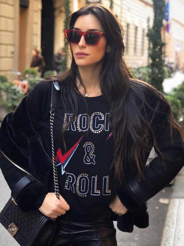 Graphic Sweater Tops Beading Letter Black Pullover Rock O-Neck Long-Sleeve Vintage Winter