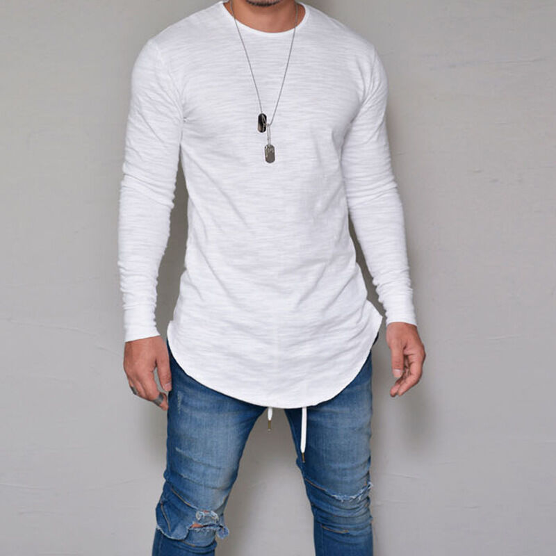 Mens Casual Long Sleeve T-Shirt Muscle Slim Plain Basic Tee Tops Blouse Pullover