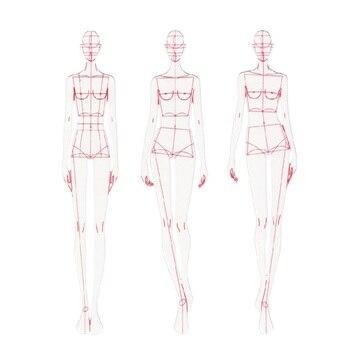 Модная линейка моды линии рисунок человека Динамический шаблон для тканевой рендеринга