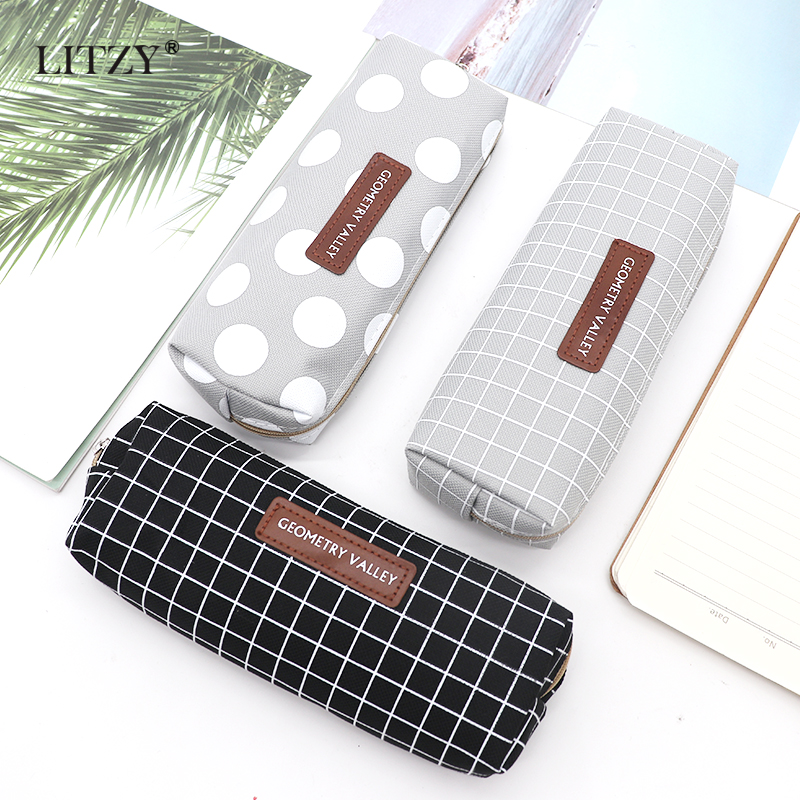 New Brief Style Grid Girls Student Pencil Case School Pencil Case For Girl Boy Stationery Canvas Black Pencil Bag Estojo Escolar