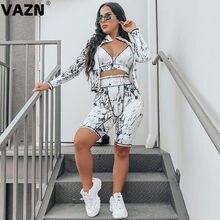 VAZN 2020 Top Qualität Retro High Street Weiche Elastische Volle Hülse Tuch Top Knie Länge 1 Stück Unterwäsche Frauen 3 stück Set