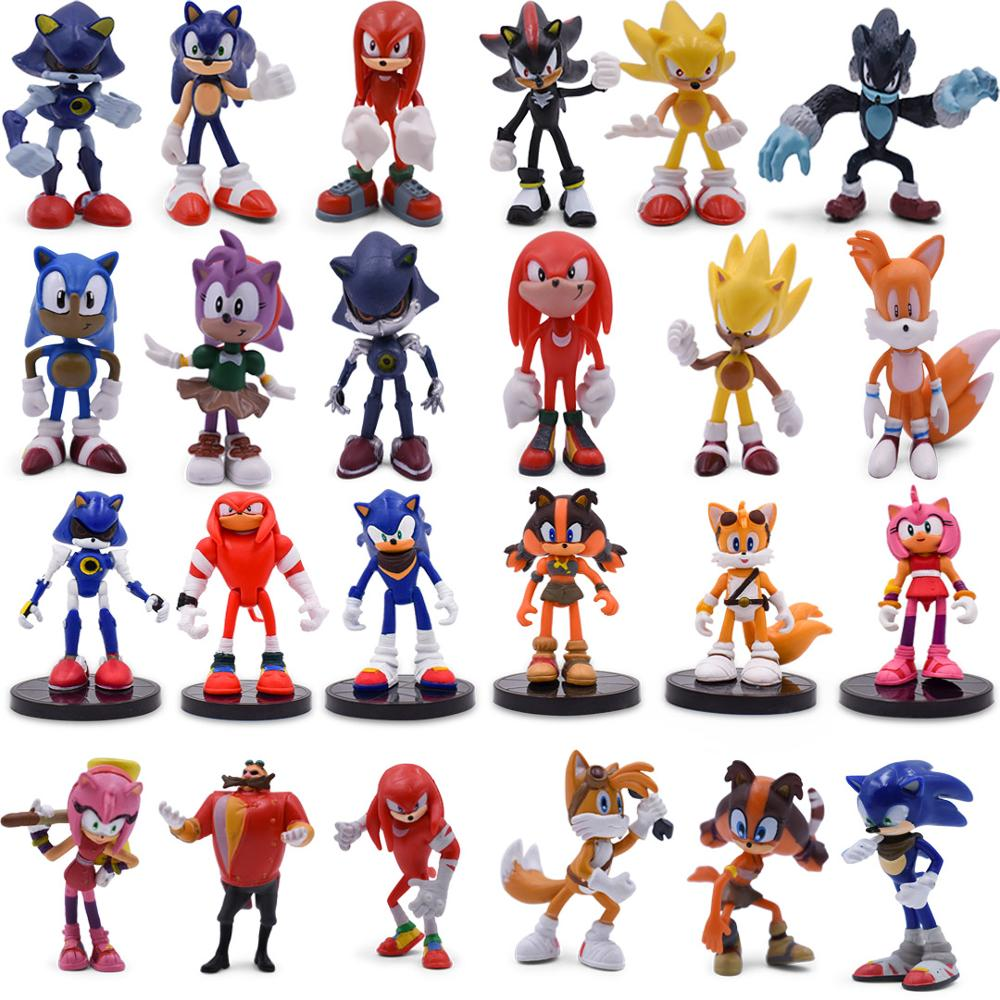 6pcs/set Sonic Figure 4 Styles Boom Rare Dr Eggman Shadow PVC Model Toy Sonic Shadow Tails Characters For Children Gift 5-9cm