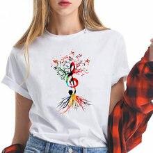Музыкальная нота дерево harajuku эстетику Новая женская футболка