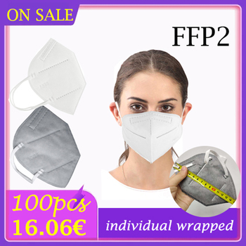 10/100 pcs protection face mask equal to FFP2 Respirator anti dust adult protective face shield ffp2mask black gray optional image