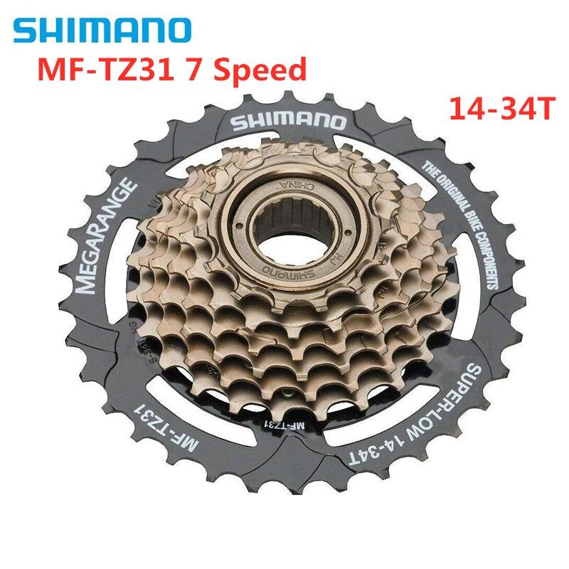 Spor ve Eğlence'ten Kontrapedal Bisiklet'de SHIMANO TOURNEY MF TZ31 TZ31 kaset 7S MTB bisiklet bisiklet freewheel kaset 14 34T