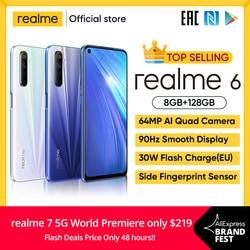 Realme 6 8gb 128gb nfc versão global 90hz display helio g90t 30w flash carga 4300mah bateria 64mp