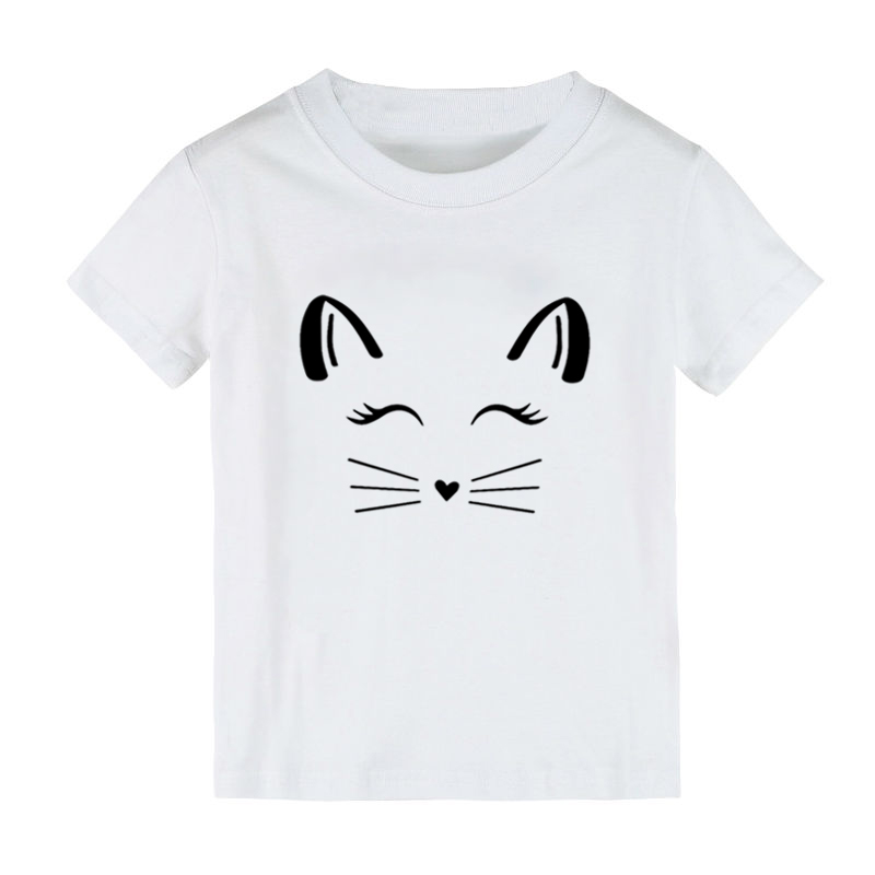 Cat Lashes face Print Kids tshirt Boy Girl shirt Children Toddler Clothes Funny Street Top Tees CZ-141 image