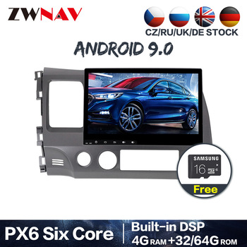 PX6 4+64 Android 9.0 Car DVD Stereo Multimedia For Honda Civic 2007-2011 Radio GPS Navi Audio Video stereo head unit BT free map