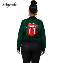 Coat Fashion Sequin-Jacket Patchwork Lip-Print Faux-Leather Long-Sleeve Women Stigende
