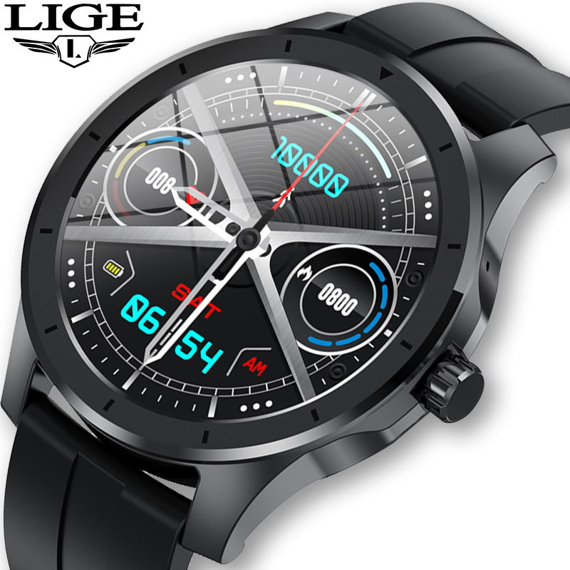 LIGE Bluetooth Call Smart Watch Men IP68 Waterproof Supports Music Player For Android ios Phone GPS Motion track smartwatch Mens