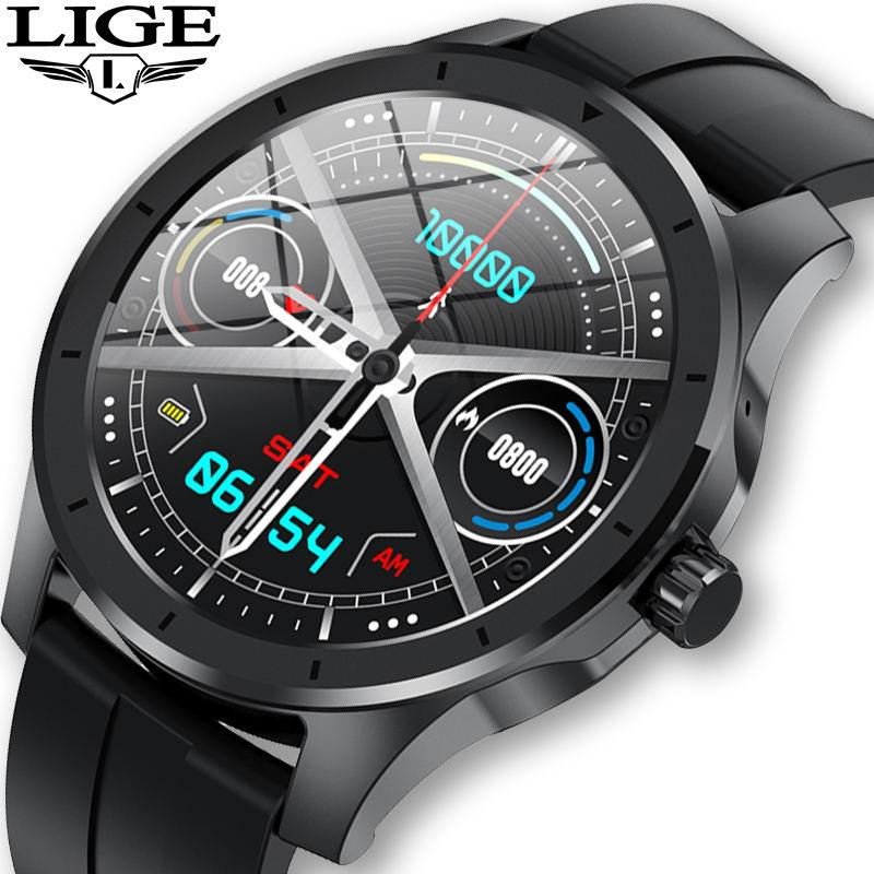 LIGE Bluetooth наручные Смарт-часы с Для мужчин IP68 Водонепроницаемый поддерживает музыкальный плеер для ios и Android телефон GPS отслеживать движение ...