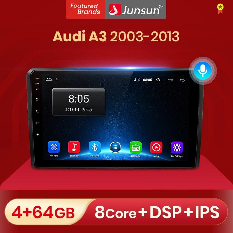 Автомагнитола Junsun V1 для Audi A3 8P 10,0-2003, мультимедийный видеоплеер с GPS, dvd, Android 2013, DSP, CarPlay, типоразмер 2 din