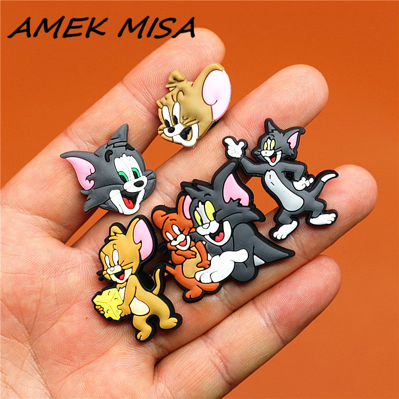 5pcs A Set PVC Cartoon Cat Shoe Charms Accessories Mouse Shoe Buckle Decorations Shoe Ormaments Fit Croc JIBZ Party Kid's Gifts