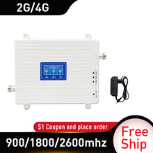 4G amplifier 900 1800 2600 repeater Tri-Band Signal Booster GSM DCS LTE 4G Mobile Signal