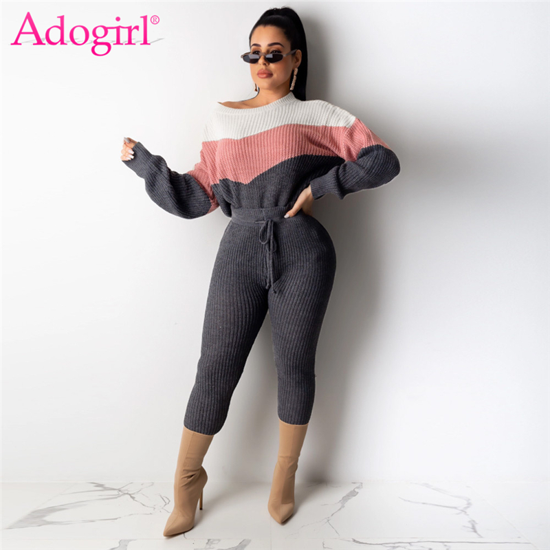 Adogirl Color Patchwork Sweater Two Piece Set O Neck Long Sleeve Loose Pullover Top Pencil Pants 2019 Winter Women Casual Suits
