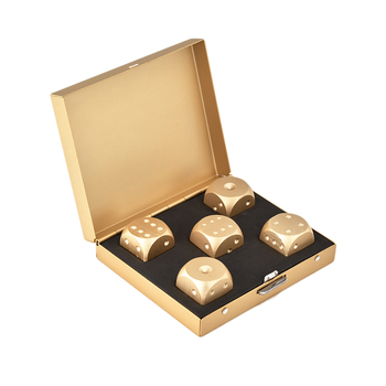 Ices Aluminium Alloy Dies Of Heavy Solid Playing Copper Tool Game Camping Poker Dice Set With Case Gold solid polished brass dice 20mm metal cube copper poker bar board game gift 1pc