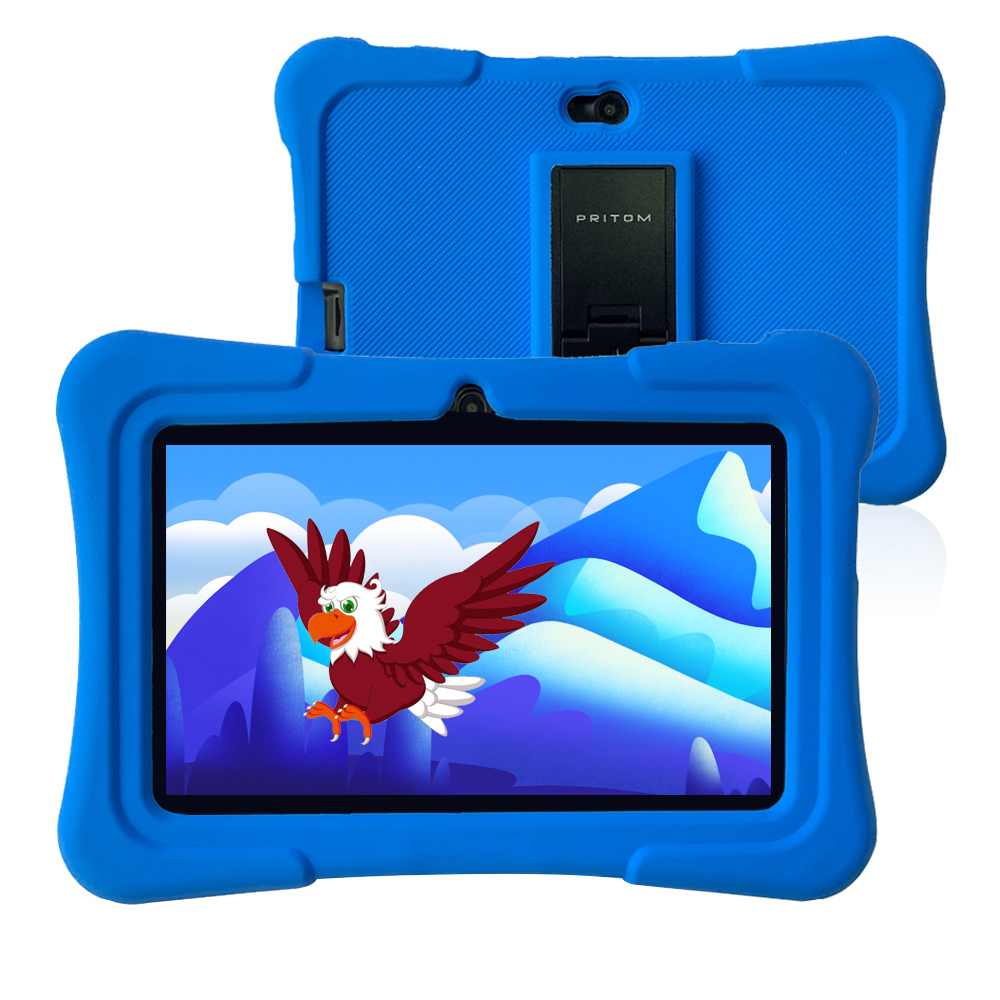 PRITOM K7 7 Inch Kids Tablet Android PC 1GB RAM 16GB ROM Quad Core Tablets WiFi Bluetooth Dual Camera With Kids Tablet Case