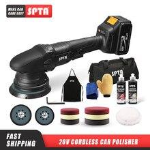 SPTA — Polisseuse de voiture sans fil, 20 v, 3000 à 5000 rpm, vitesse variable, avec 2 batterie de 4000 ahm, pour polissage de voiture, 15 mm, orbite