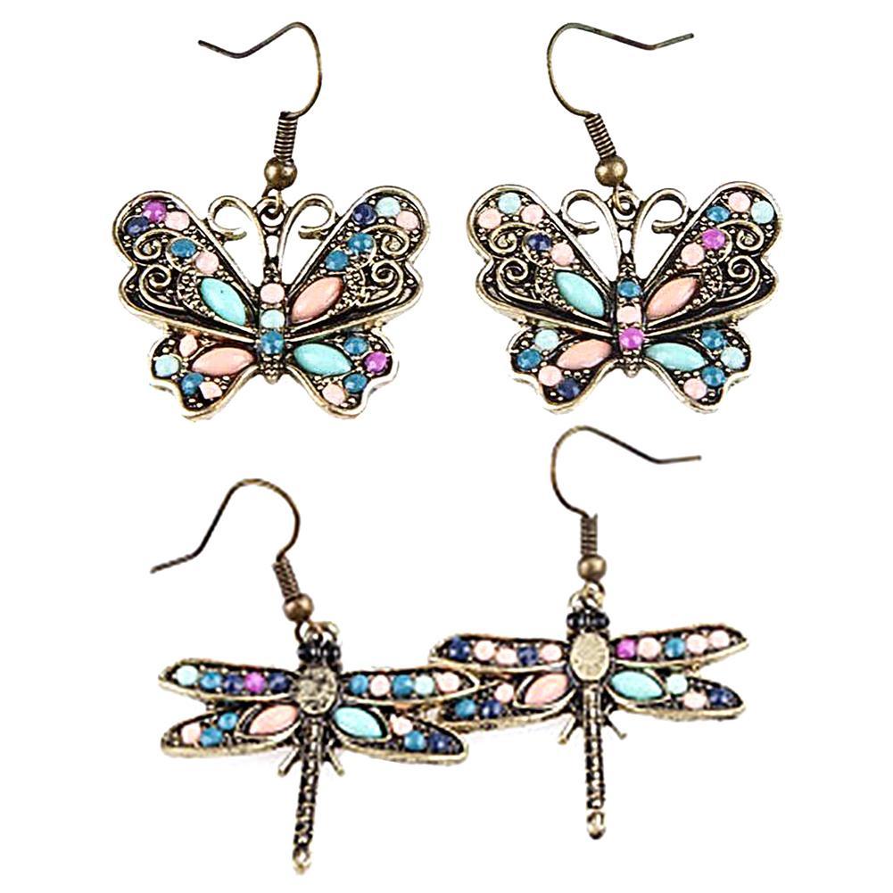 Pop Women Jewelry Dragonfly Silver Plated Hooks Drop Dangle Ear Stud Earring*-*